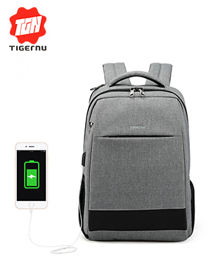 2018 Tigernu Men's Fashion Travel Backpacks Anti theft USB Charging 15.6 Laptop Bag Waterproof Silm