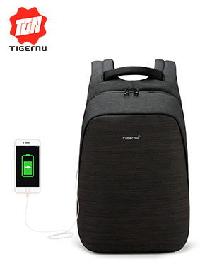 Tigernu 100% anti-theft laptop backpack usb charging 15.6 backpacks men slim multi-functional waterp