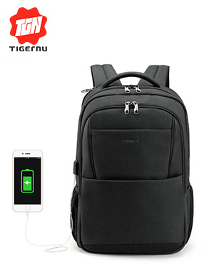 2018 Tigernu brand male mochila 15.6 laptop backpack men usb large travel backpacks slim waterproof